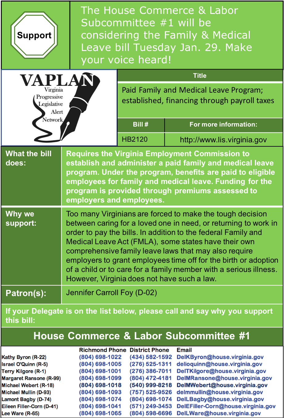 ALERT: House Commerce & Labor Subcommittee #1 considers Virginia Family Medical Leave program Tuesday Jan. 29.