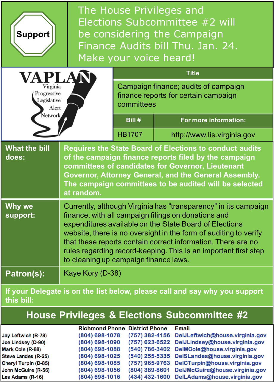 ALERT: Campaign Finance Report Auditing in House Privileges and Elections Subcommittee #2 Thursday Jan. 24