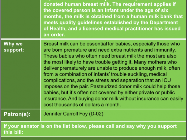 ALERT: Support insurance coverage for donated breast milk in House Commerce and Labor Tuesday Jan. 15