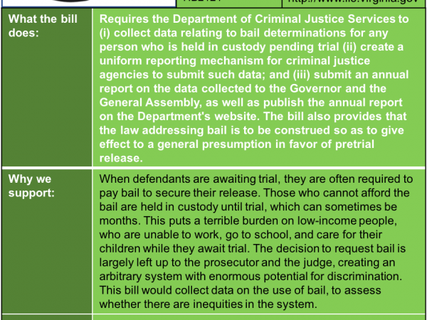 ALERT: Bill to require collecting data on bail in House Courts of Justice Subcommittee #1 Monday Jan. 21.