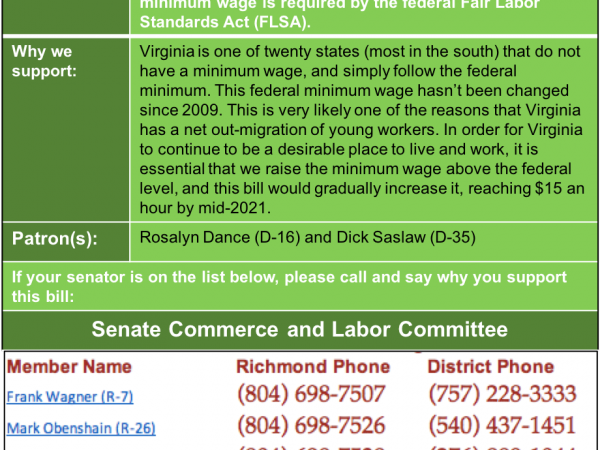 ALERT: Support $15 Minimum Wage in Senate Commerce & Labor