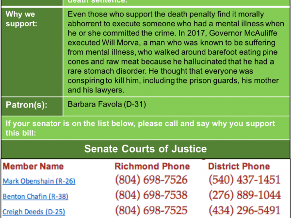 ALERT: Senate Courts of Justice considers death penalty SMI bill