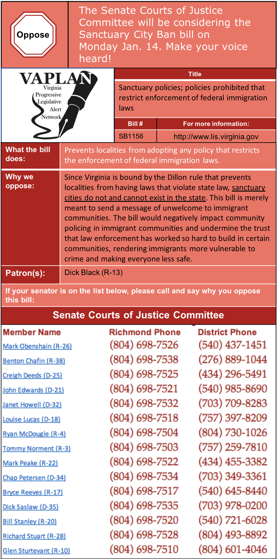 ALERT: Oppose Sanctuary City Ban in Senate Courts of Justice!