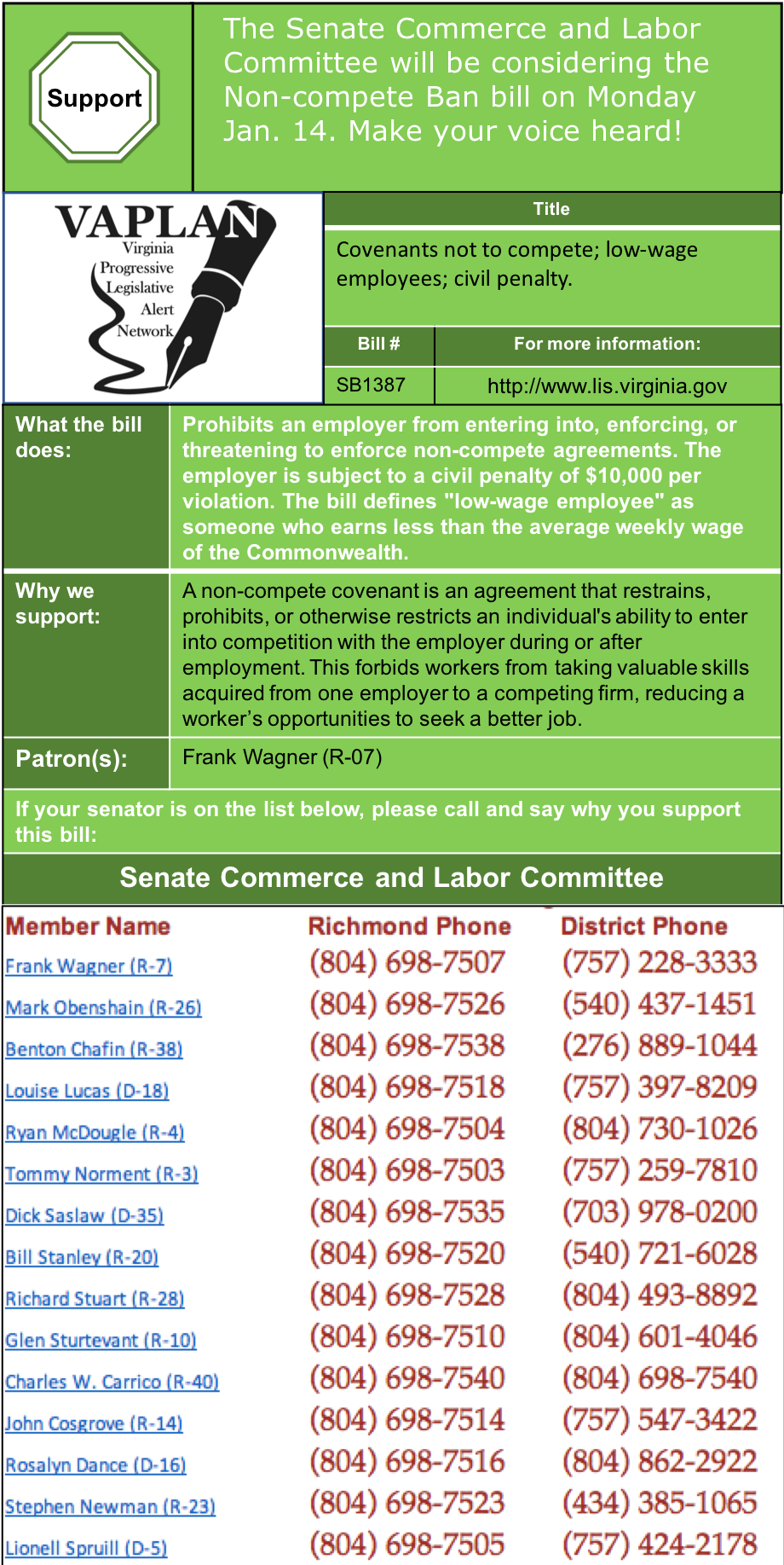 ALERT: Support Ending Non-Compete Covenants in Senate Commerce & Labor