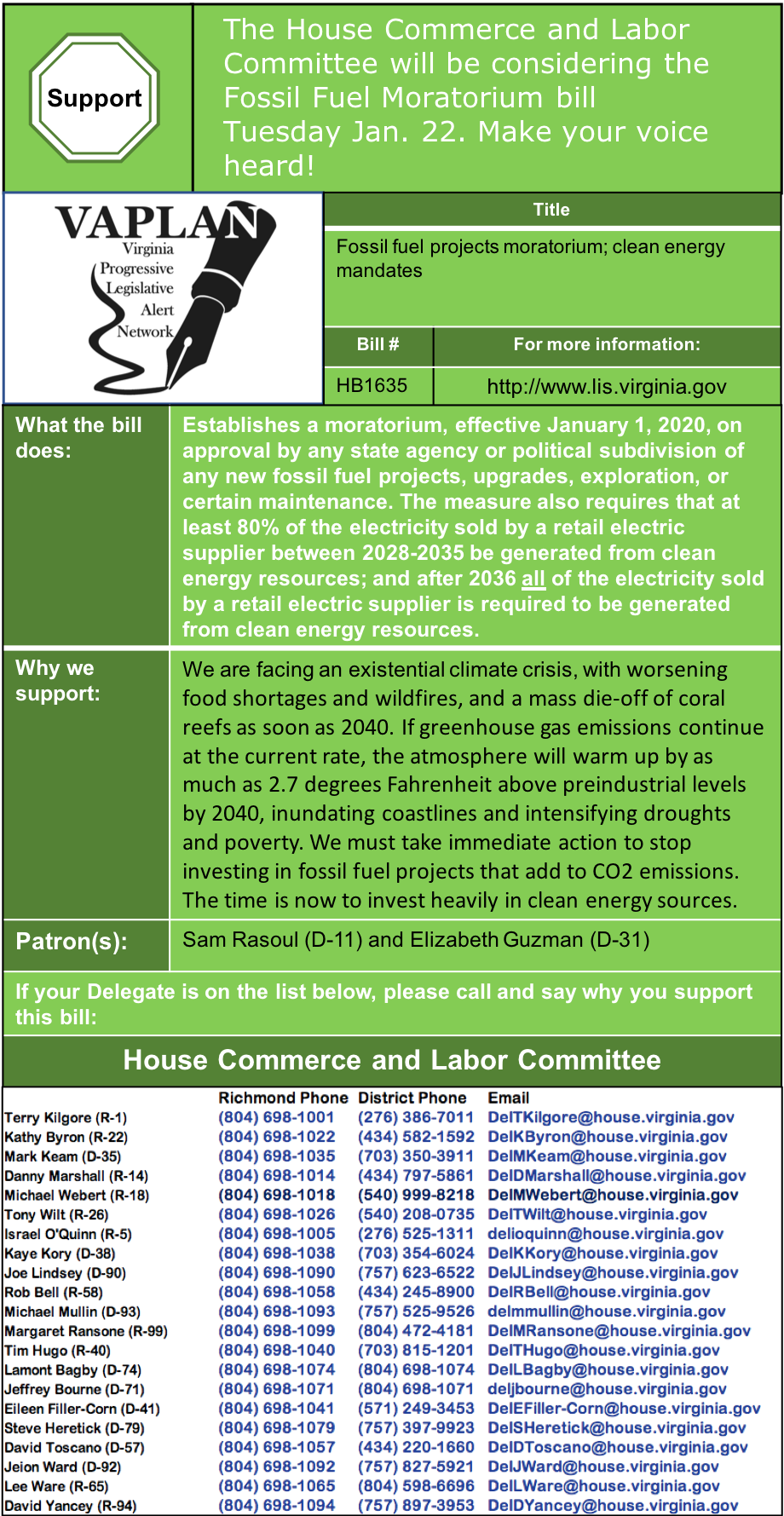 ALERT: Tomorrow afternoon House Commerce and Labor to consider fossil fuel moratorium!