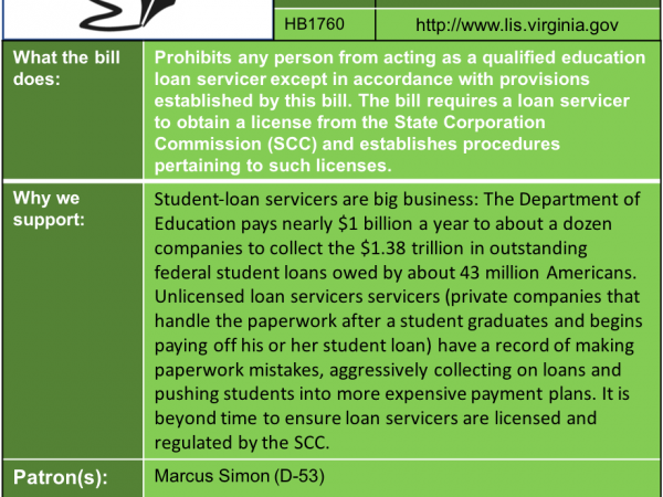 ALERT: Support licensing and regulating student loan servicers in House Commerce & Labor Subcommittee #3 Thu. Jan. 24