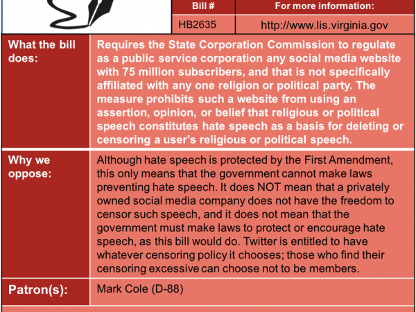 ALERT: Oppose Twitter Regulation in House Commerce & Labor Subcommittee #3 Thu. Jan. 24.
