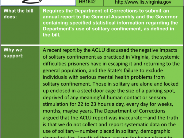 ALERT: Support Solitary Confinement Transparency in House MPPS Subcommittee 2 Thursday Jan. 17!