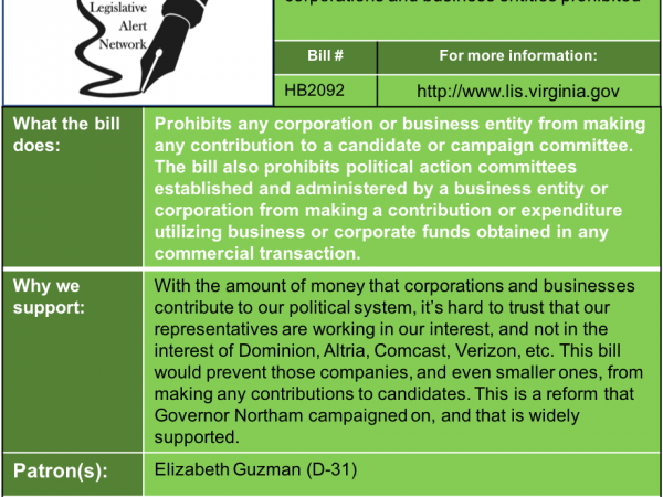ALERT: Ban Corporate Campaign Contributions in House Privileges and Elections Subcommittee #2 Thu. Jan. 24!