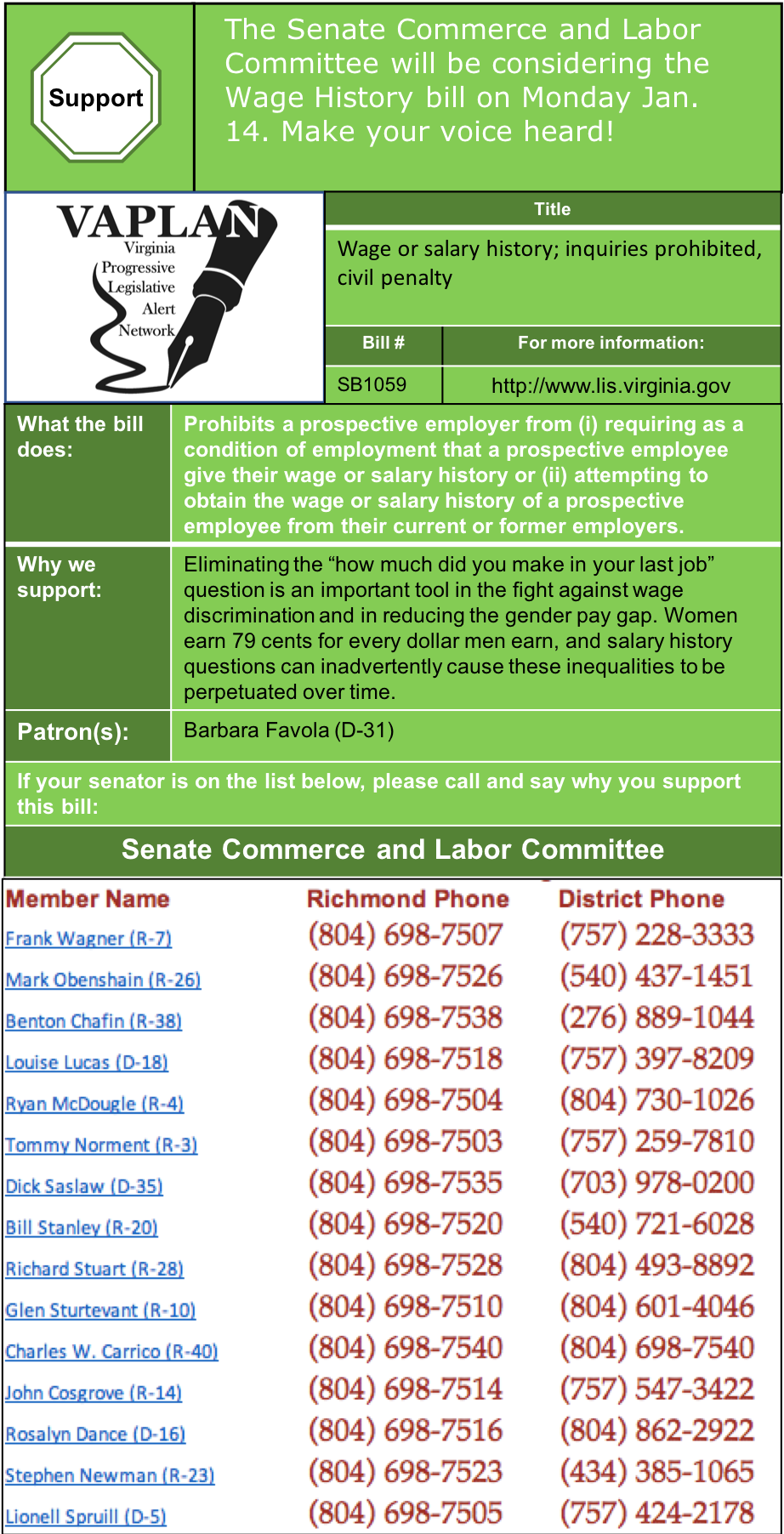 ALERT: Support Ending Wage History Question in Senate Commerce & Labor