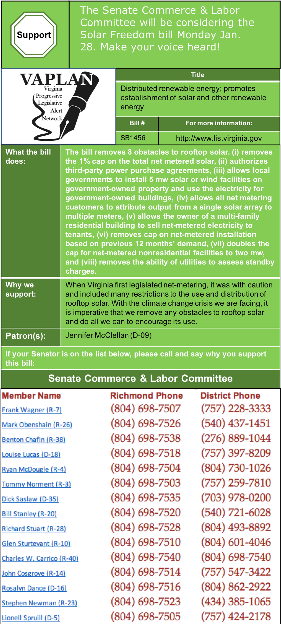 ALERT: Senate Commerce & Labor to consider Solar Freedom bill, Monday Jan. 28.