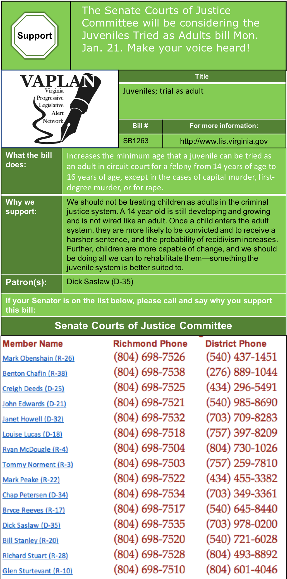 UPDATE: Raise Age at Which Children Tried as Adults to 16 in Senate Courts of Justice Mon. Jan. 28!
