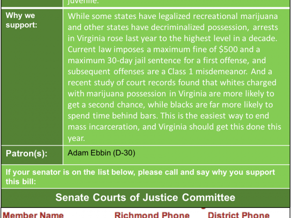 ALERT: Last chance this session to pass marijuana decriminalization heard in Senate Courts of Justice Mon. Jan. 21!