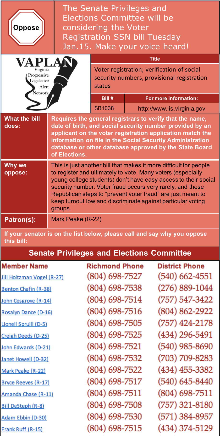 ALERT: Oppose requiring SSN on voter registration (SB1038) in Senate Privileges and Elections Tues Jan. 15