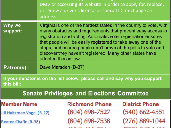 ALERT: Support Automatic Voter Registration in Senate Privileges and Elections Tues. Jan. 15