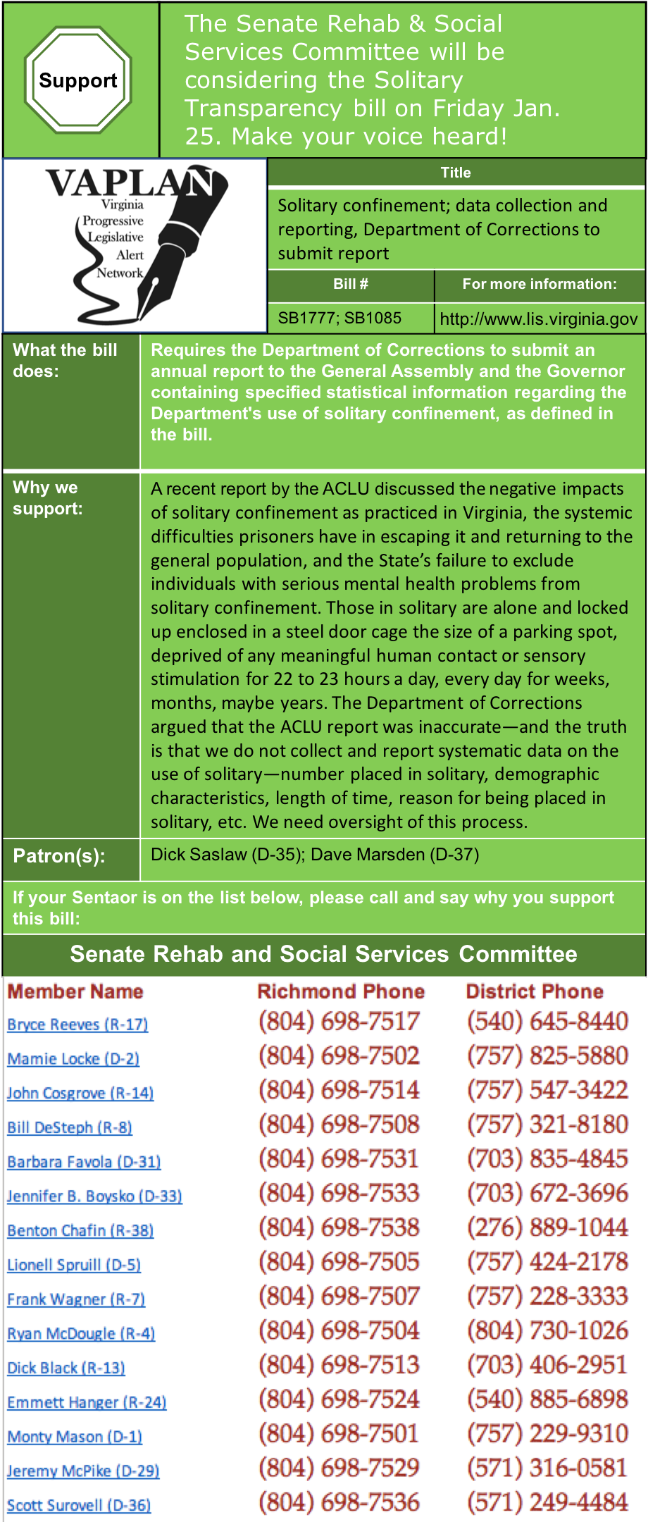 ALERT: Senate Rehab and Social Services to hear Solitary Transparency Bill Friday Jan. 25