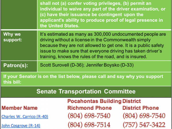ALERT: Senate Transportation Committee to consider driver privilege cards on Wed. Jan. 23!