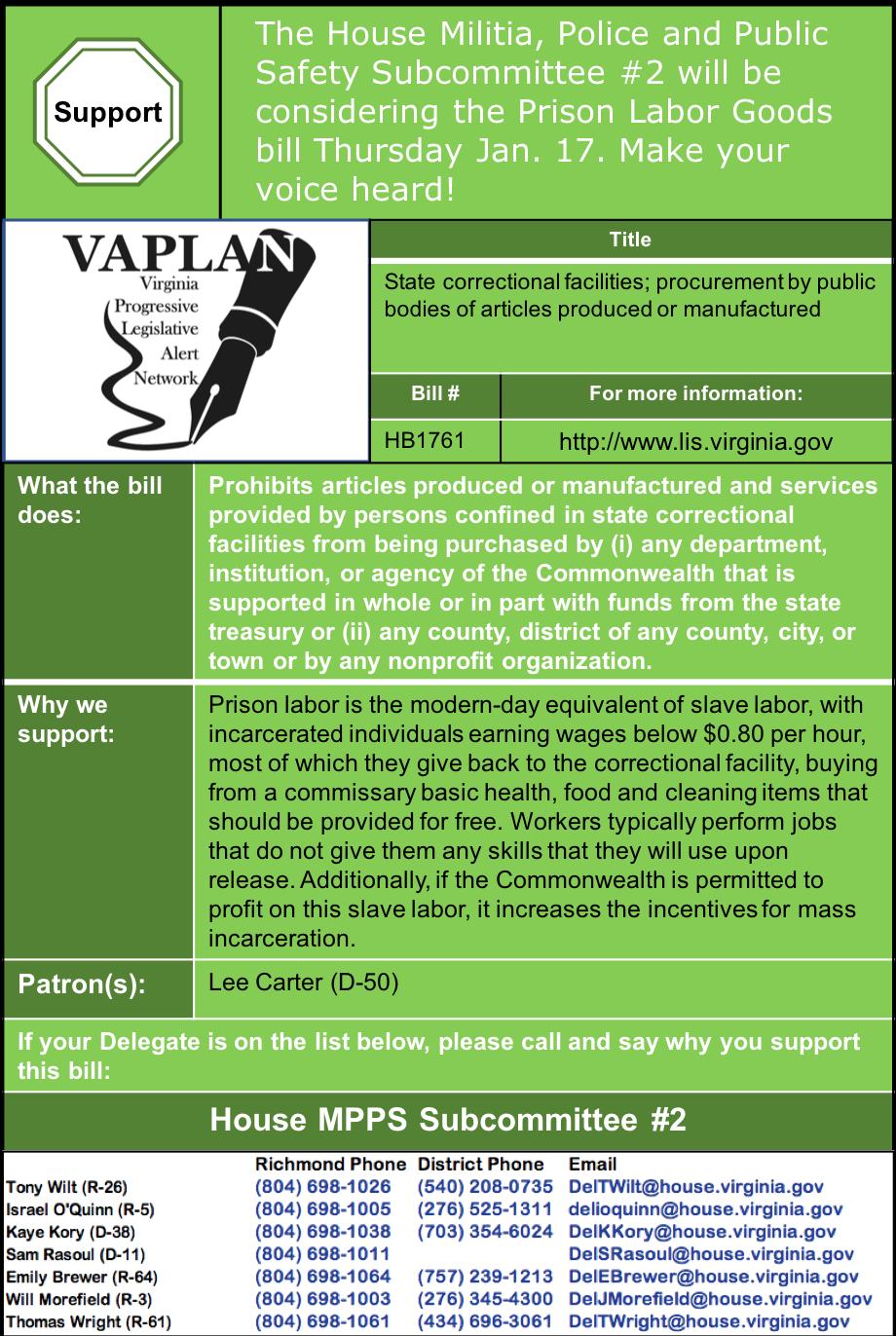 ALERT: Stop Using Prison Labor, House MPPS #2 Thursday Jan. 17